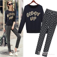 Spring and autumn new pantsuits in Europe and America long sleeve tops + trousers sports and leisure suits