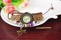 Popular Waches Women/girl  Leather wrist watch The dragonfly pendant fashion vintage quartz watch