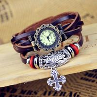 Popular Waches Women/girl  Leather wrist watch Totem Cross pendant fashion vintage Roman numeral quartz watch