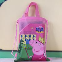 Peppa pig children small bag , Pepe swine versatile Non-woven Drawstring, cartoon bag