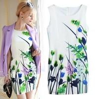 2015 Autumn new European style ink printing color sleeveless dress Slim Pencil dress