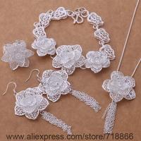 AS377 925 sterling silver Jewelry Sets Bracelet 284 + Necklace 699 + Earring 588 + Ring 373 /awnajnua bifajzma