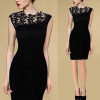 2015 new Fashion Ladies' elegant Flower Lace Mini Dresses  sleeveless sexy evening party casual slim dress