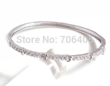 Cubic Zirconia Bangle 100% Guaranteed Genuine 925 Sterling Silver Cuff Bangle YH48903(China (Mainland))