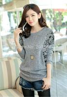 2014 new winter women's loose stitching bat sleeve  printing T shirt