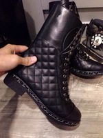 2014 Autumn Winter Shoes Woman Fashion Martin Knight Boots,Black Genuine Leather Quilted Lambskin Square Heel Mid Calf Boots
