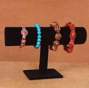 New Velvet Bracelet Chain Watch T Bar Jewelry Holder Display Stand Rack Black