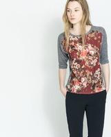 fashion women 2014 New Fashion Women Clothes Casual Dress T-shirt Flower Printing Gray Black Sizes S-L BJ1421-15