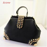 Bolsas Femininas 2014 Korean New Autumn Fashion Handbags Women's Bag Rivet PU Retro Black Bag Shoulder Bag 80A