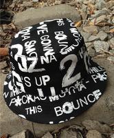2014 fashion graffiti print bucket hats for men  women summer outdoor hip hop letter sun hat