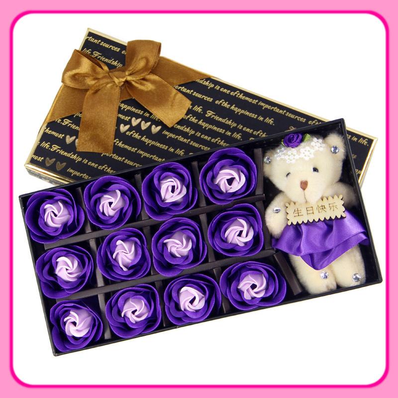 livre shipping12 rosa sabão plus urso presente de aniversário romântico casamento idéias presentes para enviar meninos e meninas mulher namorada(China (Mainland))