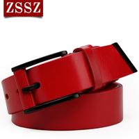 Genuine leather strap female red women's belt all-match first layer of cowhide fashion decoration wide belt waist belt
