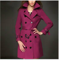 Europe Style Women's Autumn Double Breasted Trench Coat 2014 Fall Winter Plus Size XXL Slim Belted Windbreaker Fashion Overcoat