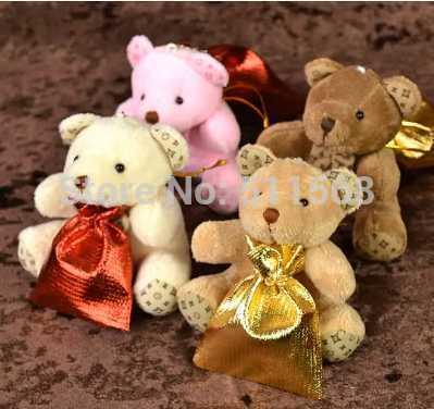 Brown bear sweet bag 12*9cm 4 color stuffed bear 8cm pendant wedding Favor Holders baby shower gift bags Wedding Candy Bag(China (Mainland))