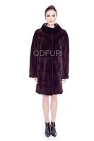 Female Natural Rex Rabbit Fur Coat Jacket With Mandarin Collar Overcoat Winter Women Fur Outerwear Coats Lady Parka QD80175