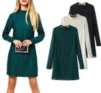 Fast/Free shipping European 2014 Fashion Slim All-match Long Sleeve Lace Women Casual Dress Autumn Basic Dresses 10
