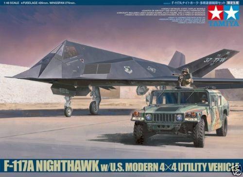 Tamiya 1/48 89773 F-117A Nighthawk w/ U.S. Modern 4x4 Utility Vehicle Plastic Model Kit Free Shipping(China (Mainland))