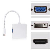 3 in 1 Mini Display Port Thunderbolt to DVI VGA HDMI TV AV HDTV Adapter cable for Mac Book, iMac, Mac Book Air, Mac Book Pro