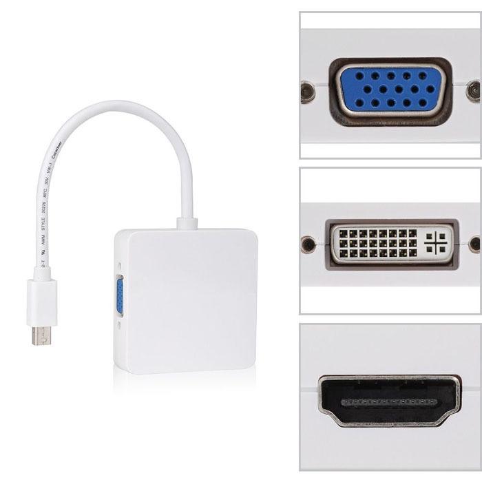 3 in 1 Mini Display Port Thunderbolt to DVI VGA HDMI TV AV HDTV Adapter cable for Mac Book, iMac, Mac Book Air, Mac Book Pro(China (Mainland))