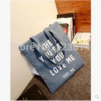 Casual Bolsas Femininas Korean Style Soft Canvas Desigual Women Handbag Fashion Letter Print Bag Office Shoulder Bag N-JG 024