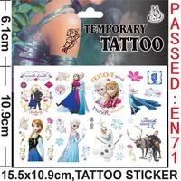 best-selling Frozen Tattoo Sticker Temporary Anna elsa tattoo stickers Kids love DIY sticker body and finger decoration 6 style