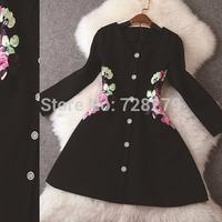 2014 Autumn Dress Winter Dress fashion Vintage the waist Embroidered elegant waist-length sleeve slim  DRESS