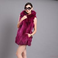 coat fur doudoune longue femme fourrure Waistcoats 2014 fox raccoon fur long design female fur vest waistcoat outerwear
