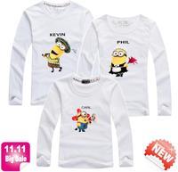 11.11 BIG SALE minions t shirt for kid dad mom love family shirts long sleeve tee Top quality new 2014 baby clothes PANYA QCX20