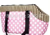 The dog dog bag handbag backpack portable pet supplies Coffee color - Pink Leopard