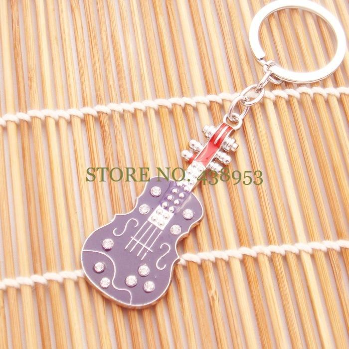 Free shipping nova bugiganga moda cute music key chains enamel guitar jewelry music trinket guitar pendants new trendy keyrings(China (Mainland))