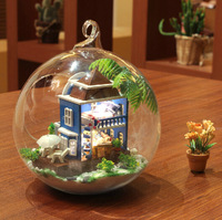 New arrival Diy Handmade Mini Toy Model Mini Aegean Doll House  Glass Marbles Doll house with Light  Miniature scale models