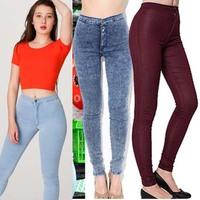 Fashion  women vintage American Apparel high waist easy jeans pencil Stretch Denim skinny pants  USA sexy elastic denim trousers