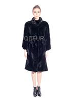 Lady Luxurious Natural Full Pelt Rex Rabbit Fur Jacket Coat With Belt Winter Women Fur Outerwear Coats Thick Parka QD80170