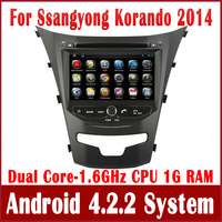 Pure Android 4.2 Car DVD GPS Navigation for Ssangyong Korando 2014 with Radio Bluetooth CD MP3 USB AUX DVR 3G WIFI Tape Recorder