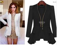 New 2015 Spring Women Ruffles Lady Office Jackets Feminino Jacket Black White  Slim Zipper Chiffon Woman Clothes  A198