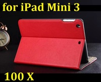 100pcs/Lot Best Price Luxury PU Leather Case Cover for iPad mini3, Solid Pattern PU Leather Wallet Case Cover for iPad mini3
