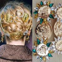 Baroque hairpin side clip crystal palace wide retro fashion human head top folder