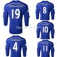 Thai quality kits 14 15 Chelsea long sleeve Soccer Jerseys HAZARD FABREGAS home football shirts DIEGO COSTA blue soccer uniforms