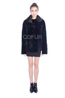 Lady Luxurious Natural Full Pelt Rex Rabbit Fur Jacket Coat Winter Women Fur Outerwear Short Tops Coats Thick Parka QD80169