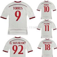 Top Thai quality kits14 15 Serie A soccer TORRES SHAARAWY PAZZINI away football shirt MENEZ MONTOLIVO white soccer uniforms+logo