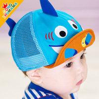Children summer new mesh cap visor styling shark sub empty baby top hat