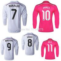 Thai quality kits14 15 Real Madrid long sleeve soccer jerseys JAMES RONALDO home football shirt KROOS BALE away soccer uniforms