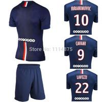 Ligue 1 kits 14 15 soccer jerseys CAVANI IBRAHIMOVIC home football shirts+shorts DAVID LUIZ LAVEZZI blue soccer uniforms+logo