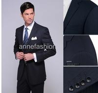 2015 New arrival Four season italy high quality wool dark navy stripe custom made Businiss men suit  wedding suit(jacket+pants)