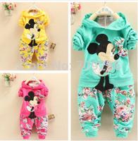 Retail 2014 Spring Autumn baby girls Sport suit set cartoon long sleeve children hoodies sets hoodies+pant, 2 pcs clothing sets