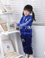 2014 new children winter cloth set children cotton velvet suit set girls cotton top+pants 2pcs set free shipping