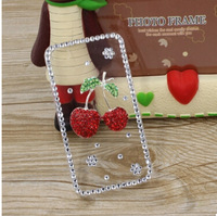 2014 New Rhinestone Diamond Case Back Cover Skin Case Transparent Protector Case For Huawei Ascend D1 U9500 , Free Shipping