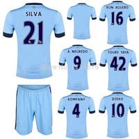 High quality kits14 15 Premier League soccer jerseys+shorts KUN AGUERO SILVA home football shirts KOMPANY DZEKO soccer uniforms