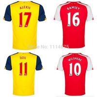 Top Thai quality kits14 15 Premier League soccer jerseys OZIL RAMSEY home football shirts ALEXIS WILSHERE away soccer uniforms