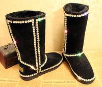 New Arrival 2014 Women Wedding Boots premium grade A claw diamond gem diamond genuine leather handmade Xiangtie Tall snow boots